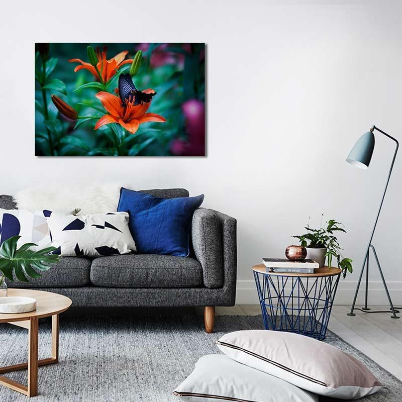 Farfalla su fiore, Tela Canvas