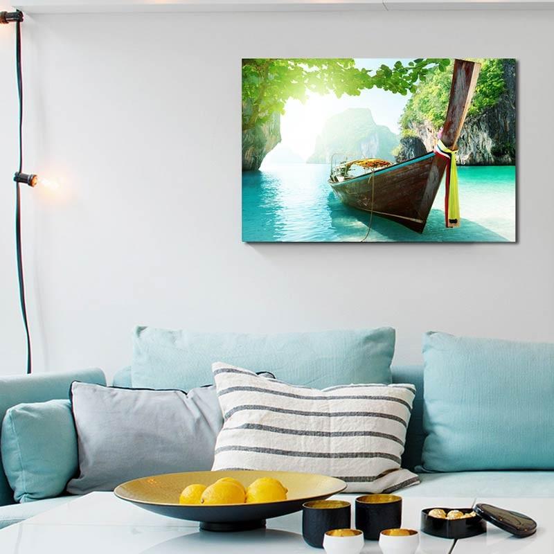 Canoa in mare, Tela Canvas